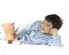 Piggy Bank And Child Royalty Free Stock Photos