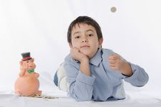 Free Piggy Bank And Child Royalty Free Stock Photos - 29170178