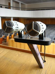 Pair Of Microphones In The Big Hall Stock Photography