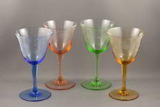 Antique Wine Glasses Stock Image