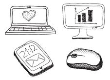 Hand Drawn Phone, Monitor, Notebook And Mouse Royalty Free Stock Photo