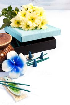 Aromatherapy Set With Flower Candle And Incense Stock Photography
