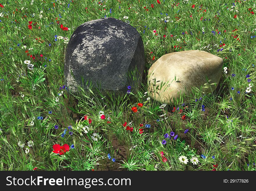 Two stones against flowers