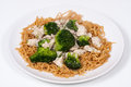 Free Chinese Broccoli Chicken With Egg Noodles Stock Photography - 29184932