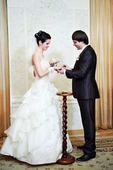 Free Happy Man Wears Wedding Ring His Bride Royalty Free Stock Image - 29181146