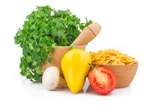 Free Parsley In Mortar And Pasta Stock Photos - 29183923