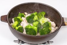 Chinese Broccoli Chicken Preparations Stock Photos