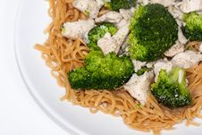 Free Chinese Broccoli Chicken With Egg Noodles Stock Image - 29184961
