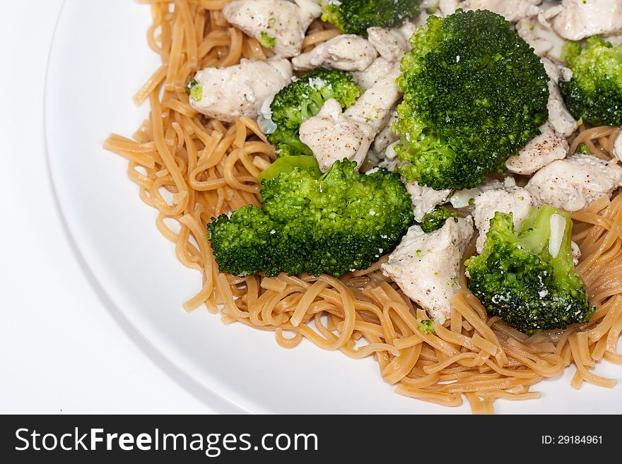 Chinese Broccoli Chicken with egg noodles