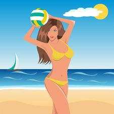 Free Beach Volley Girl Royalty Free Stock Photo - 29192455