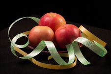 Free Red Apples And Color Ribbons Royalty Free Stock Image - 29193746