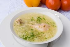 Chicken Soup With Chicken Leg Royalty Free Stock Images