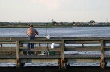 Lone Fisherman Royalty Free Stock Photos