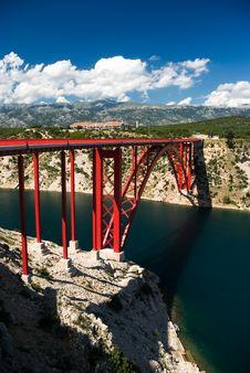 Bridge In Maslenica Royalty Free Stock Photos