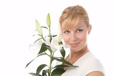 Free The Girl With Lily Royalty Free Stock Image - 2923306