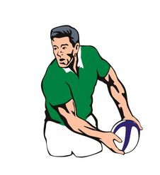 Rugby Player Passing Ball Stock Image