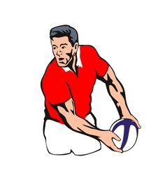 Rugby Player Passing Ball Stock Photos