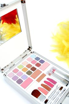 Free Makeup Briefcase And Feathers Stock Images - 2923724