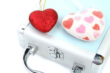 Free Briefcase And 2 Hearts Stock Image - 2923781