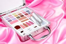 Makeup Briefcase On Pink Satin Royalty Free Stock Images