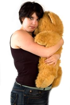Free Young Womanc With Teddybear Royalty Free Stock Image - 2925936