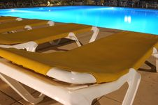View Of Sunbeds And Pool Royalty Free Stock Images