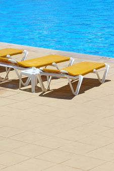 Pool Sunbeds Stock Photography