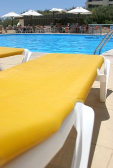 Pool Sunbeds Closeup Royalty Free Stock Photo