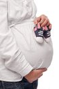 Free Pregnant Woman Keeping Baby-shoes Stock Photo - 29200260