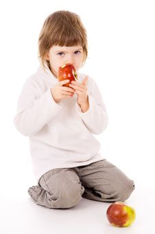 Free The Little Girl Eat Apples Royalty Free Stock Photography - 29200287