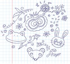 Free Floral And Animal Doodles Stock Images - 29211234