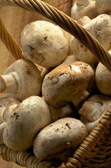 Free Basket Of Champignons Stock Image - 29217341