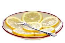 Free Fork On A Plate With Lemon Stock Image - 29217971
