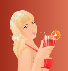 Girl With Cocktail Royalty Free Stock Photo