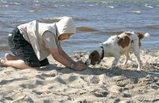 A Boy Plays With A Dog On The Seashore In A Sunny Windy Day