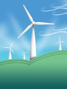 Free Wind Turbine Illustration. Clean Energy Concept Royalty Free Stock Images - 29220599