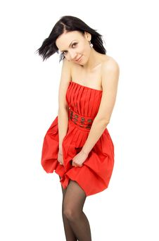Free Beautiful Brunette In A Red Dress Stock Photos - 29221103