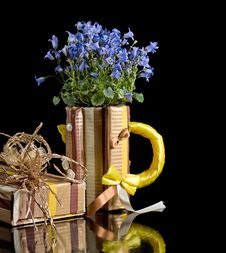 Paper Mug With Bellflowers Stock Photo