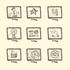 Free Hand Drawn Business Icon Set Royalty Free Stock Images - 29222149