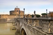 Bridge And Castel Sant Angelo, Rome, Italy Stock Image