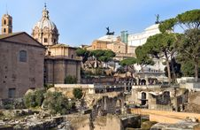 Forum Romano And View On Capitol Hill, Rome, Italy Stock Photography