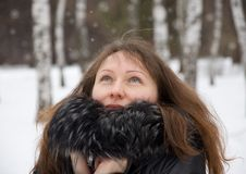 Free Brunette Woman In Snow Winter Park Stock Image - 29228981