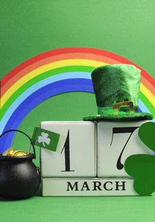 Free St Patrick S Day Calendar March 7 Vertical. Royalty Free Stock Photography - 29229767