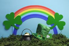 Free St Patrick S Day Still Life With Leprechaun Hat And Rainbow. Royalty Free Stock Image - 29229916