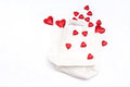 Free Red Hearts Scattered On A White Paper Bag Stock Photos - 29239123