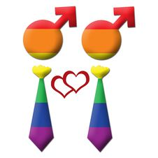 Gay Graphic - Two Element In Tie - Rainbow Royalty Free Stock Images