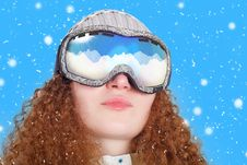 Free Curly Cute Girl With Glasses Snowboard Stock Images - 29237124