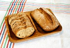 Rye Bread On Wooden Plate Stock Photography