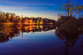 Free Reflection Of Trees In The River At Evening Royalty Free Stock Image - 29254036