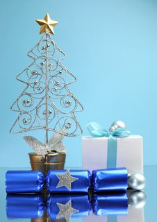 Blue Theme Christmas Gift And Bauble Decorations - Vertical. Royalty Free Stock Photo